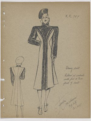 Coat with Fur and Ribbon Trim down Front, with Fur Sleeves