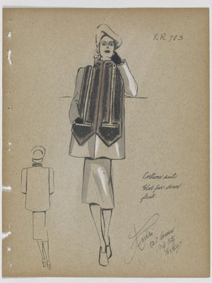 Suit with Fur down Front, Ending in Pockets