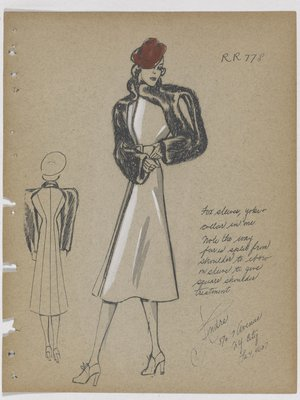 Coat with Zipper down Front, with Fur Collar, Yoke and Sleeves