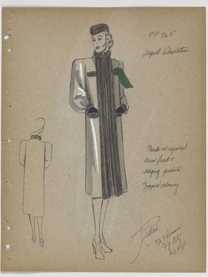 Coat with Fur down Front and Edging Pockets, with Green Handkerchief
