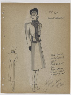 Coat with Suit Effect and Fur Trim at Top with Tails at Neck