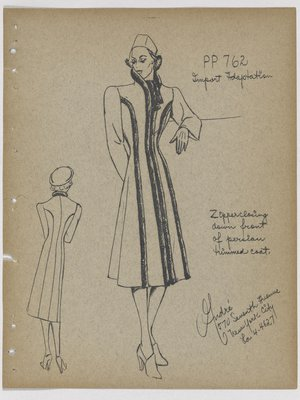 Coat with Fur Trim at Collar and down Front and Sides