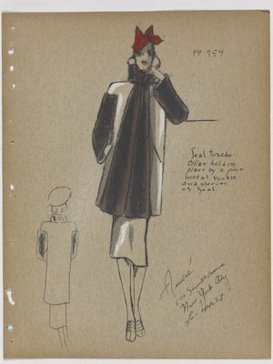 Coat with Fur Collar and Fur down Front and Sleeves, with Red Hat