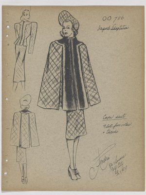 Cape Suit with Flat Fur Collar and Fur down Front
