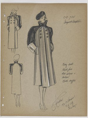 Coat with Fur Collar and Sleeves, with Cloth Cuffs