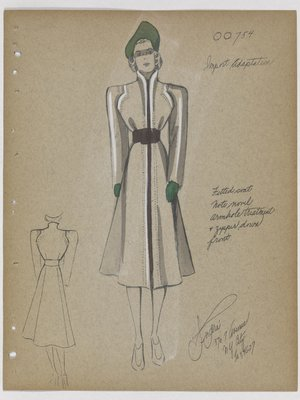 Coat with Zipper down Front, with Green Hat and Gloves