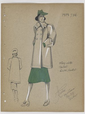 Double-Breasted Coat over Green Skirt, with Green Hat and Gloves