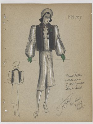 Tweed Suit with Fur on Jacket, with Green Gloves