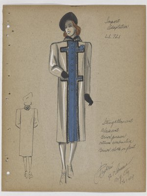 Coat with Blue Cloth down Front, Trimmed in Dark Fur