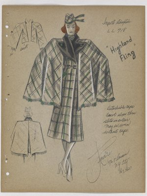 Highland Fling Green Plaid Coat with Detachable Cape