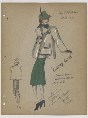 Cabby Coat with Patch Pockets, with Green Skirt and Hat