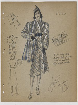 Duke of Kent Coat with Blue Plaid and Fringe on Pockets and Scarf