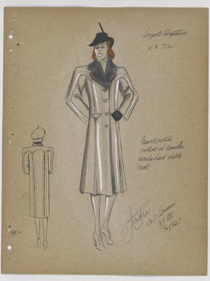 Coat with Notched Fur Collar and Triangle Pockets