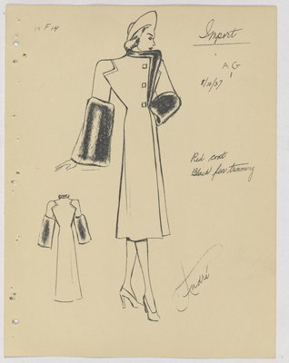 Mainbocher Coat with Fur Trim at Top and Large Fur Cuffs