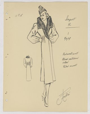 Jean Patou Coat with Fur Collar and Tucks at Waist