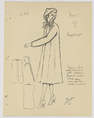 Heim Fur Coat with Checkered Bow at Neck