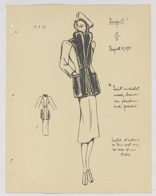 Maggy Rouff Suit with Fur on Plastron and Pockets