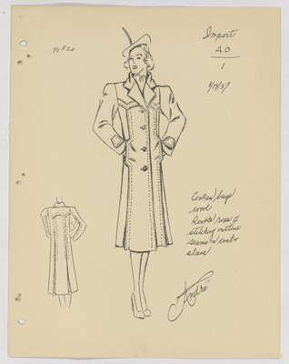 Schiaparelli Coat with Double Rows of Stitching along Seams