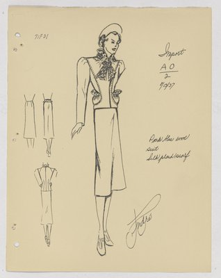 Schiaparelli Suit with Plaid Scarf and Pouch Pockets