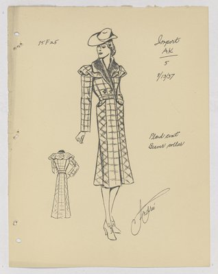 Paquin Plaid Coat with Capelet and Fur Collar