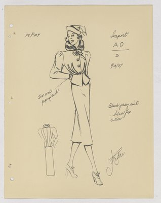 Schiaparelli Suit with Fur Collar and Double Piping at Waist