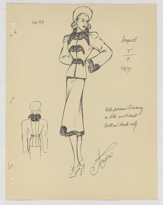 Jodelle Suit with Fur Trim Across Jacket , Hem and Cuff