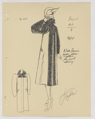 Marcel Rochas Coat with Fur down Back, Sleeves and Collar