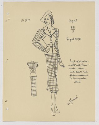 Marcel Rochas Suit with Checkered Material on Sleeves and Skirt