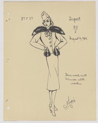 Schiaparelli Suit with Animal Faces on Pockets and Fur over Shoulder