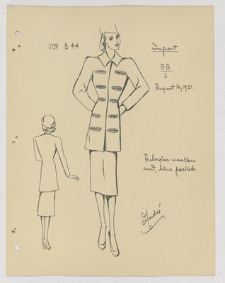 Mainbocher Coat with Lined Welt Pockets on Either Side