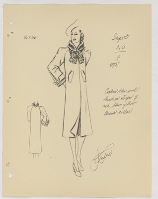 Schiaparelli Coat with Fur Collar and Lined Bow at Neck