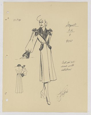 Paquin Coat with Fur Bows on Shoulder and Fur on Collar, Cuff and Pockets