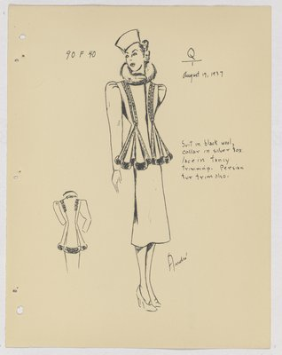 Jeanne Lanvin Suit with Lace and Fur Trim and Deep Folds at Waist
