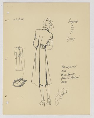 Maggy Rouff Coat with Leaves on Back Belt, and Leaf Buttons on Front