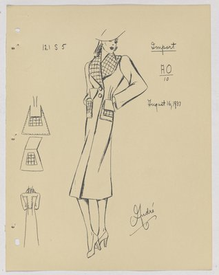 Schiaparelli Coat with Checkered Collar and Flap Pockets