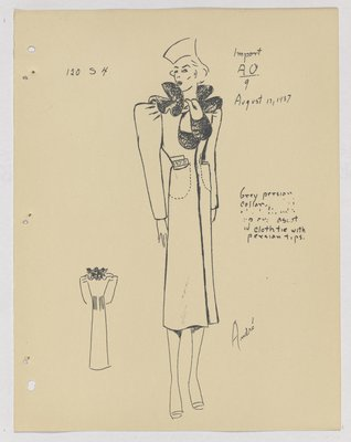 Schiaparelli Coat with Fur Collar and Fur-Trimmed Tie