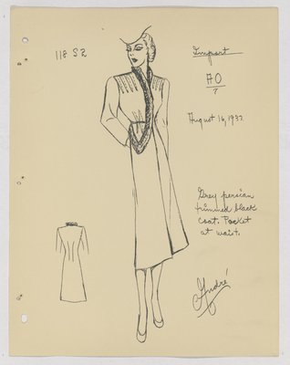 Schiaparelli Coat with Fur Trim down Front and Pocket