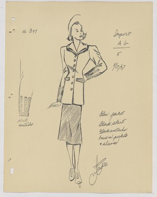 Mainbocher Coat with Braid on Pockets and Sleeve