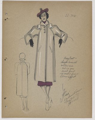 Coat with Loops in Bow Effect at Top, with Purple Skirt and Hat