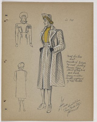 Coat over Trouser-Like Skirt and Yellow Top with Applique of Tweed