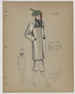 Boxy Coat with Black Collar and Green Handkerchief and Hat