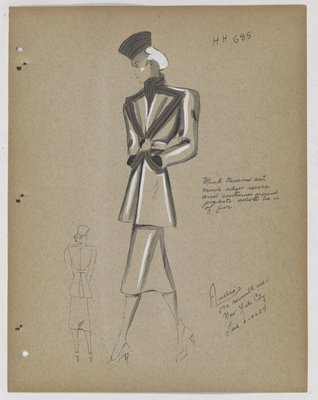 Suit with Fur-Trimmed Pointed Lapels and Pockets