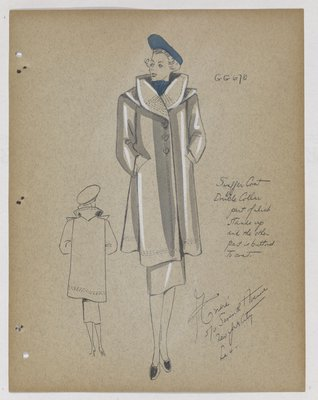 Coat with Double Collar and Blue Hat and Scarf