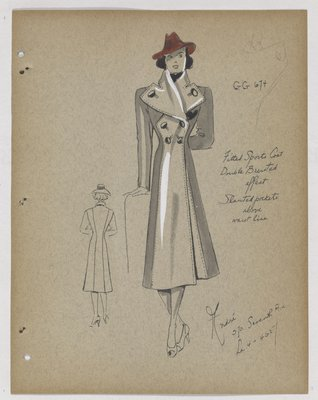 Coat with Slanted Pockets above Waist, with Red Hat