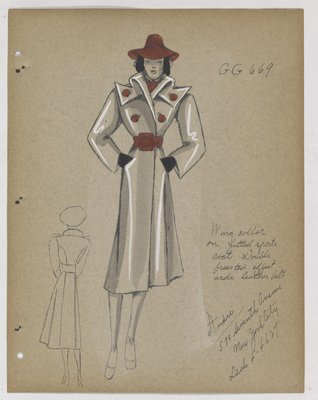 Coat with Wing Collar and Red Buttons, Hat and Belt