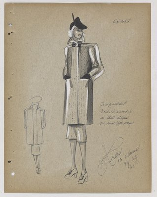 Coat with Black Buckle at Neck, with Slit Pockets