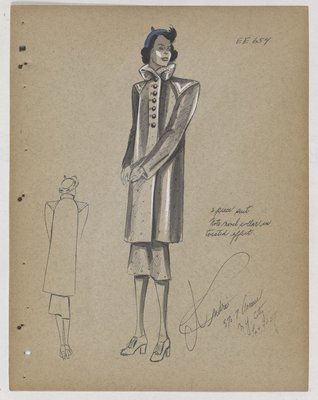 Coat with Twisted Collar and Pointed Panel over Shoulders