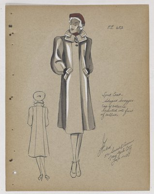 Coat with Double Collar and Pocket Stands, with Red Hat