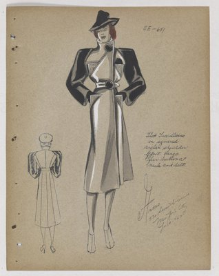 Coat with Lined Triangle Pockets and Fur Sleeves and Buttons