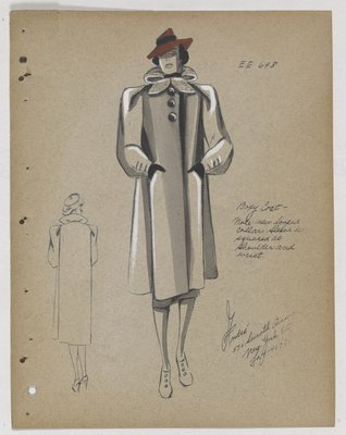 Boxy Coat with Looped Collar and Red Hat